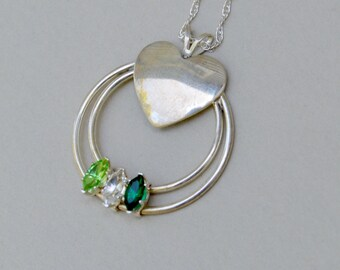 Vintage Sterling Silver Heart Filigree Necklace . 3 Green Stones . Crystals . Dainty Necklace
