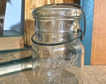 Clear Ball Jar -Pint size- with glass lid and wire clasp or bail