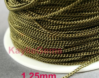 1.25mm Twist Curb Chain Antique Brass Plated Fine Delicacy Soldered Brass Strong  - 6ft