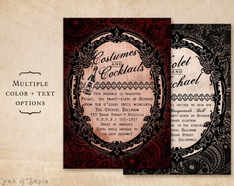 Printable Halloween Party or Wedding Invitation - 5x7 - Gothic Lace - Black Red Gold Champagne Elegant Adult Costume Masquerade Spooky