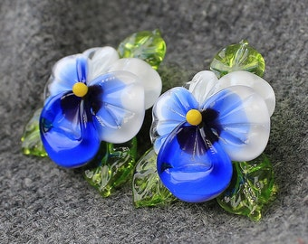 Handmade Lampwork Bead - 1 pc Glass Bead, Sculpted Pansy Bead, Glass Beads, Floral Lampwork, Lampwork Flower Beads