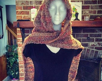 crochet hooded scarf with matching cuffs