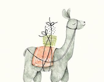 A5 Art Print / Postcard, Lama, Illustration, Watercolor, Pencils and Pen