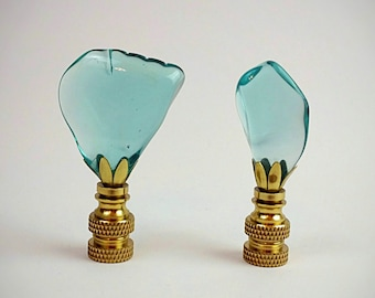 Lamp Finials   Handmade With Vintage Telegraph Glass Insulators   Brass Lamp  Finial   Seaglass Final