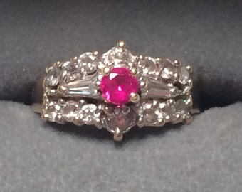 BO 14k yellow gold ring with ruby and CZ size 7.5