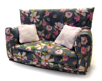 "Barbie Doll Furniture-Sofa with Pillows -1:6 scale-Blue with White and Pink flower print fabric-also works w/Blythe and 11"" fashion doll"