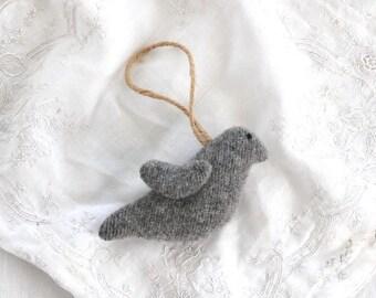 Bird Ornament, Felted Wool Bird Ornament, Gray Bird Ornament