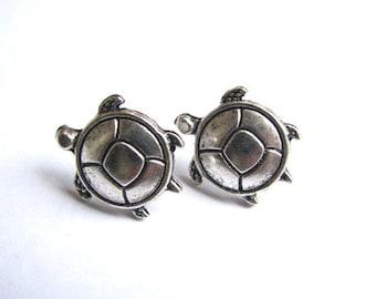 Silver Turtle Earrings, Round Turtle Studs, Stainless Steel Post Earrings, Cute Animal Stud Earrings, Turtle Jewelry, Everyday Earrings