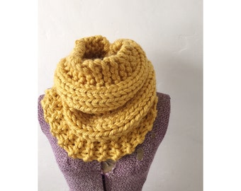 HERMOSA COWL in Goldenrod - Hand Knitted Neckwarmer Cowl Circle Infinity Scarf, extra chunky knit golden yellow  cowl, cowl in gold