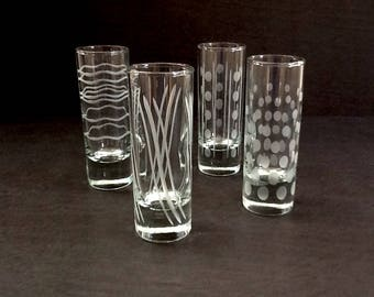 Tall Glass Shooters, Set of 4, Clear Glass, Thick Base, Frosted Abstract Design, Double Shot Glasses, 2 Fluid Ounces