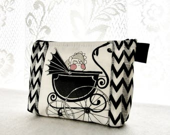 The Ghastlies Mean Baby in Pram Fabric Makeup Bag Cosmetic Bag Fabric Zipper Gadget Pouch Alexander Henry Black and White Ghastlie Buggy GRW