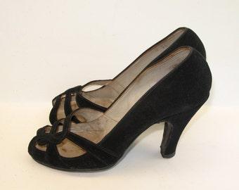 1940s Shoes Vintage Suede Black Open Toe