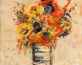 "Bouquet of fun-Original Oil painting-24"" x 24""-textured floral artwork"