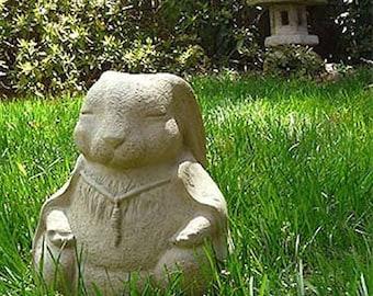 LARGE MEDITATING RABBIT Solid Stone Buddha Animal Concrete Home Garden Office Gift Sculpture, Original Sculpture by Michael Gentilucci