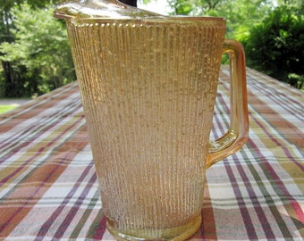 Vintage Gold Glass Pitcher - Heavy Amber Glass Pitcher - Large Vertical Striated Pitcher