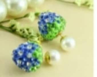 Blue strawberry double ended earrings