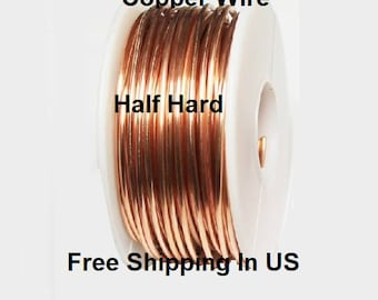 1 Lb. Round Solid Copper Wire ( Half Hard ) On Spool - 99.9% Pure Copper ( Gauges -10 - 12 - 14 - 16 - 18 - 20 - 22 - 24 - 26 - 28 - 30 )