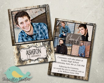 Graduation Announcement PHOTOSHOP TEMPLATE - Senior Graduation 3