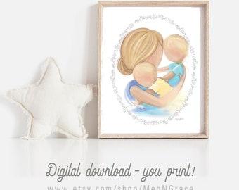 DIGITAL DOWNLOAD Set of 2 Art Prints for Boys Room Decor, Gift for New Mother, Baby Shower Gift, Printable Download Art