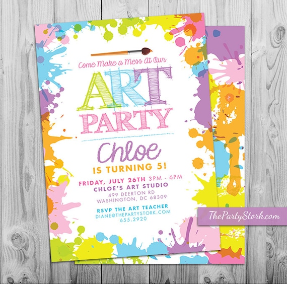 It's just a picture of Refreshing Free Printable Paint Party Invitations