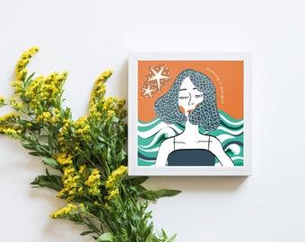 Mindful Girl Print, Mindful Girl Illustration, Wall Art