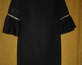 50s 60s Black Crepe Dress Bell Sleeves with Rhinestones Vintage