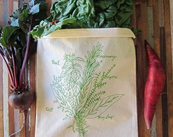 Reusable Produce Bags - Set of 2 Grocery Bags - Screen Printed - Cotton Produce Bags - Eco Friendly Bags - Handmade Grocery Bag - Herb Bunch