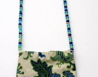 Hand Beaded purse blue green upholstery floral purse with wire hand beaded heavy handle strap