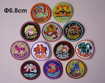 Zodiac Astrology Embroidered Patches, Vintage patches, Embroidery patches, Iron on patches, Sew on patch, WS-58
