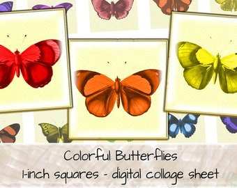 Butterfly Clipart, Butterfly Art, Butterfly Print, 1 inch squares, digital collage sheet, instant download, digital art