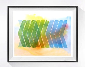 Abstract Chevron Art Watercolor geometric print Blue green painting modern geometry Watercolour chevrons Abstract contemporary aquarrelle