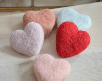 Felted wool, feltheart, wool jewelry heart brooch
