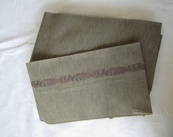 Very elegant brown & gray blend hanhaba obi for kimono or yukata -USED - Kitsuke - From Japan