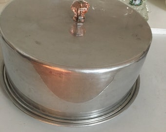 Vintage Cake Carrier Carlton Aluminum Cake Carrier with Pink Glass Knob