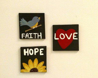 Mini Canvas Magnets, Set of 3, Faith Hope Love, 1 Corinthians 13:13, Scripture Magnets, Bible Verse Magnets, Small Canvas Art, Small Magnets