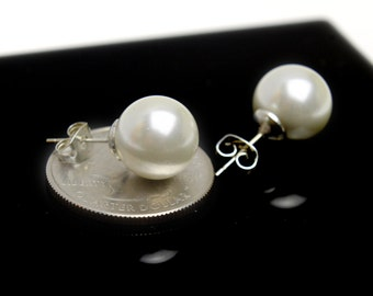 Pearl Stud Earrings 12 mm Bridesmaids Earrings. Wedding and Party Gift Jewelry