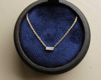 14k Solid Yellow Gold .15 carat Baguette Diamond Solitaire Necklace. Delicate Natural Baguette Diamond choker