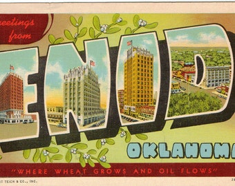 Linen Postcard, Greetings from Enid, Oklahoma, Where Wheat Grows and Oil Flows, 1943