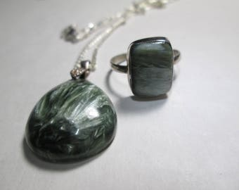 PENDANT, Seraphinite pendant and matching ring size 7