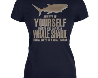 Always Be Yourself Whale Shark Juniors Soft T-Shirt - Navy or Black