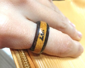 Korean name letter engraving Layered wood ring/customized personalized carving