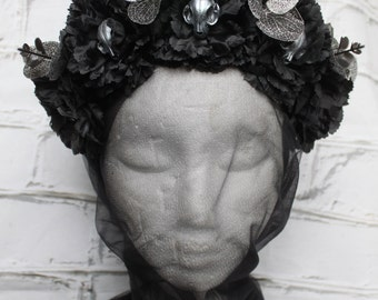 Headdress Headpiece head Jewelry Gothic Headwear skull skull Catskull Black silver shooting