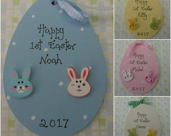 Personalised first 1st wooden Easter Egg plaque