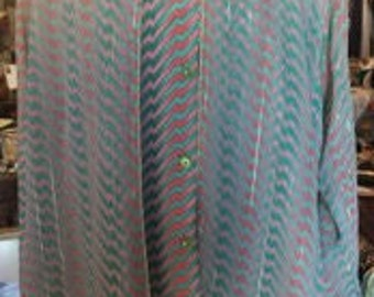 1970s Multicolored Abstract Design Long Sleeve Blouse with Bold Piping Made by KM Fashion Made in Korea