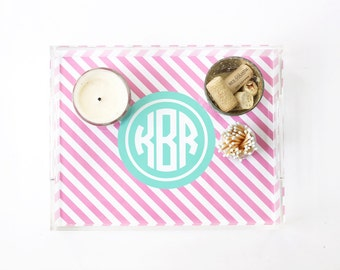 Monogram Tray Personalized Acrylic Tray Lucite Serving Trays Coffee Table Tray Acrylic Decor Hostess Gifts Bar Tray Monogram Wedding Gift