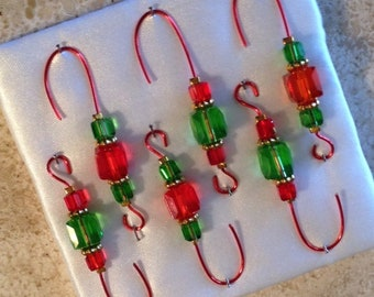 Beaded Ornament Hangers - Red & Green Beads - FREE SHIPPING