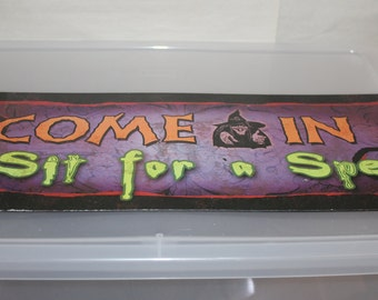 Halloween Sign, Come In, Sit For a Spell, Witch, Colorful w Purple Background & Black Witch, Wicked Spelling, Halloween Holiday, Collectible