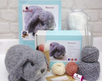Blossom Rabbit Knitting and Felting Kit Free UK Shipping
