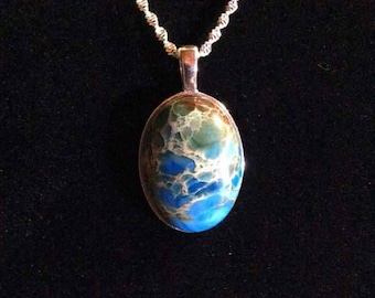 Sea sediment Jasper necklace/pendant - 30 inch chain- Stunning!