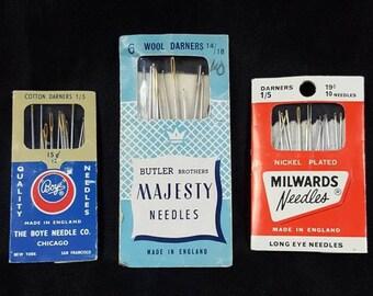 England cotton and wool vintage darning-needle lot Boye, Butler Brothers Majesty & Millards